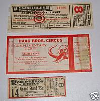 Barnes & Sells-Floto - Robbins - Haag Circus Ticket Lot